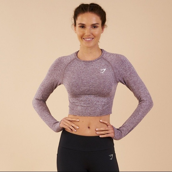 e6cd73225e4f1 Gymshark Tops | Vital Seamless Long Sleeve Purple Crop | Poshmark